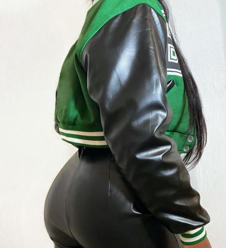 Colorblock printed leather sleeve baseball jacket cropped jacket YJ21091