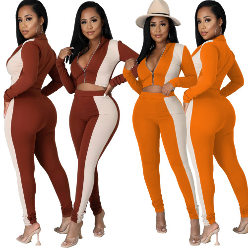New product color matching casual fashion suit zipper tight-fitting two-piece suit Y81343