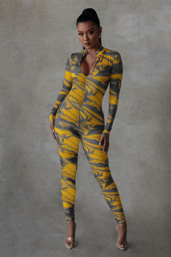 Fashion autumn and winter marble pattern digital printing skinny sexy jumpsuit Y81342