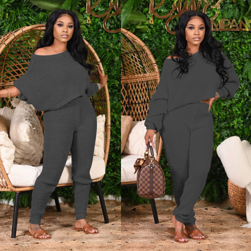 Two-piece winter solid color bat sleeve sweater M1125