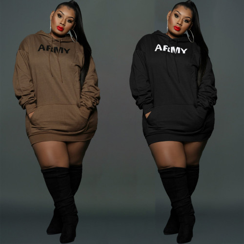 New style plus size women's sweater fabric ladies plus size fashion hooded sweater dress Y81341