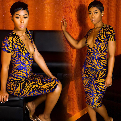 Dress Color leaf print deep V slim bag hip nightclub skirt F296
