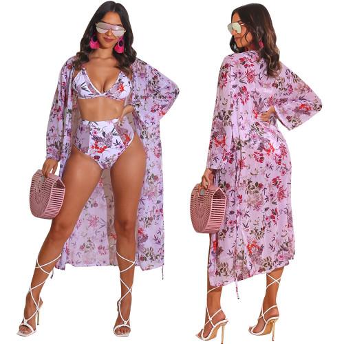 Sense Printed Bikini Swimsuit Beach Cloak Jacket Women's Three-piece Set F290