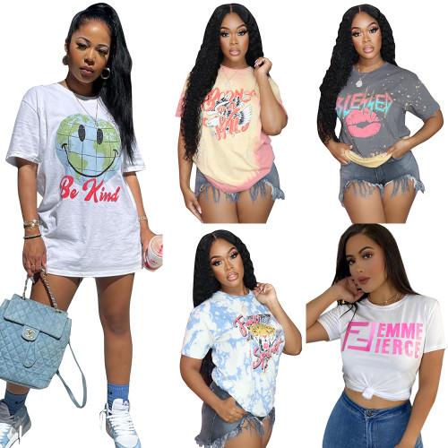 Sexy fashion T-shirt round neck women's nightclub clothes F280