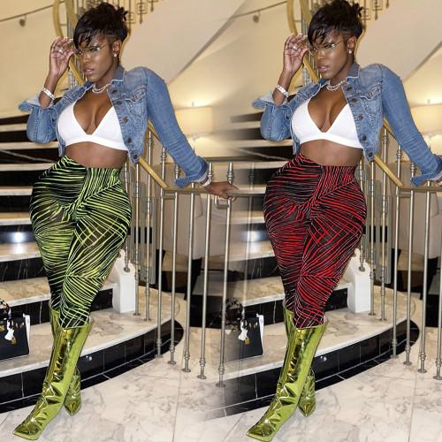 Women's sexy irregular line stretch trousers nightclub outfit F298