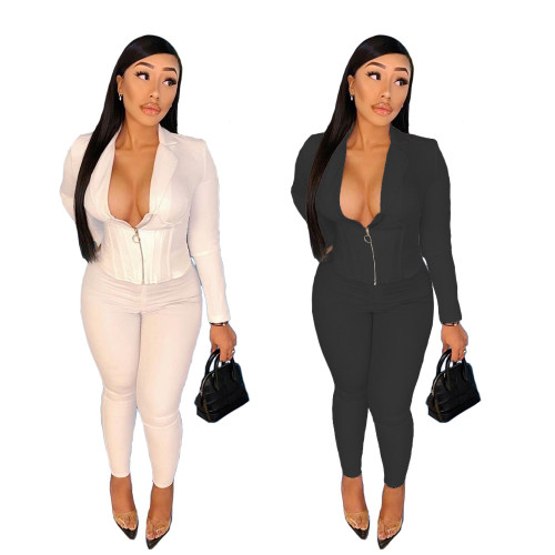 Two-piece sexy women's solid color low collar, waist waist and suit collar B9305