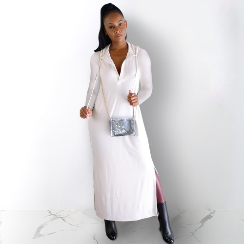 Fashion women's clothing wholesale imitation cotton back burnt sexy hooded dress BN7234