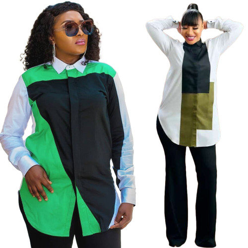 Women's Fashion Trendy Digital Positioning Printing Long Sleeve Casual Slim Shirt 2 Colors Available Y5211
