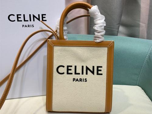 CELINEミニ バーティカル カバ CELINE / CELINEプリント入りキャンバス & カーフスキン