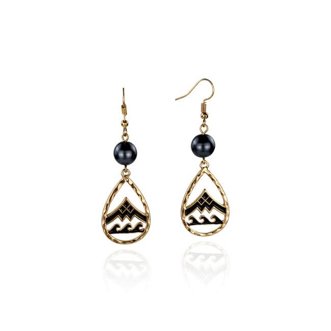 Enamel mountain wave drop earrings