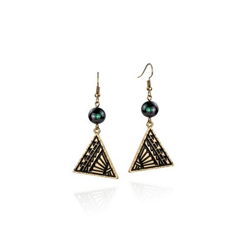 Balck enamel tribal earrings