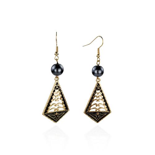 Black enamel tribal earrings