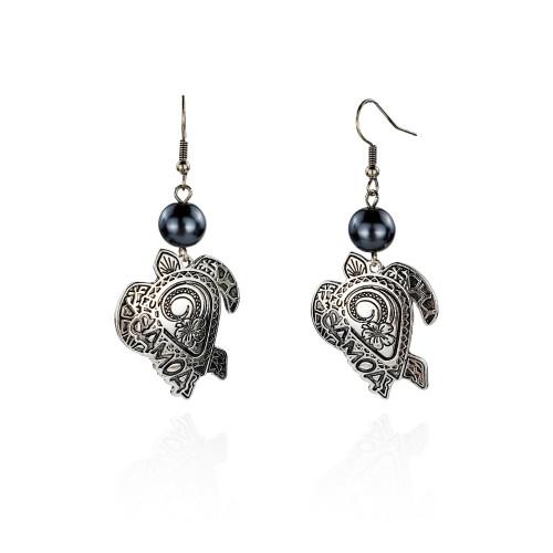 Samoa antique silver hibiscus turtle tribal earrings