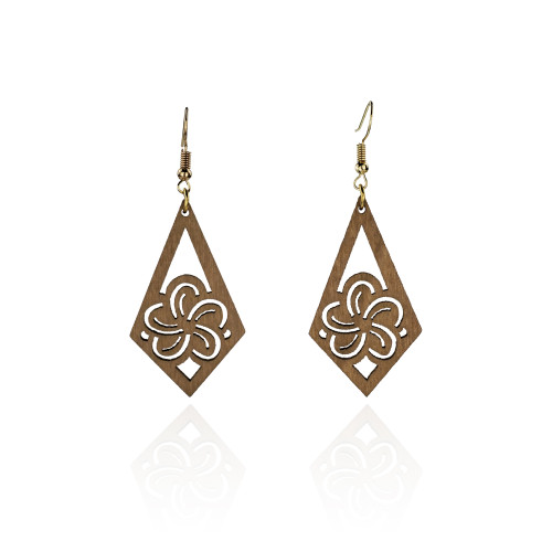 Plumeria wood earrings