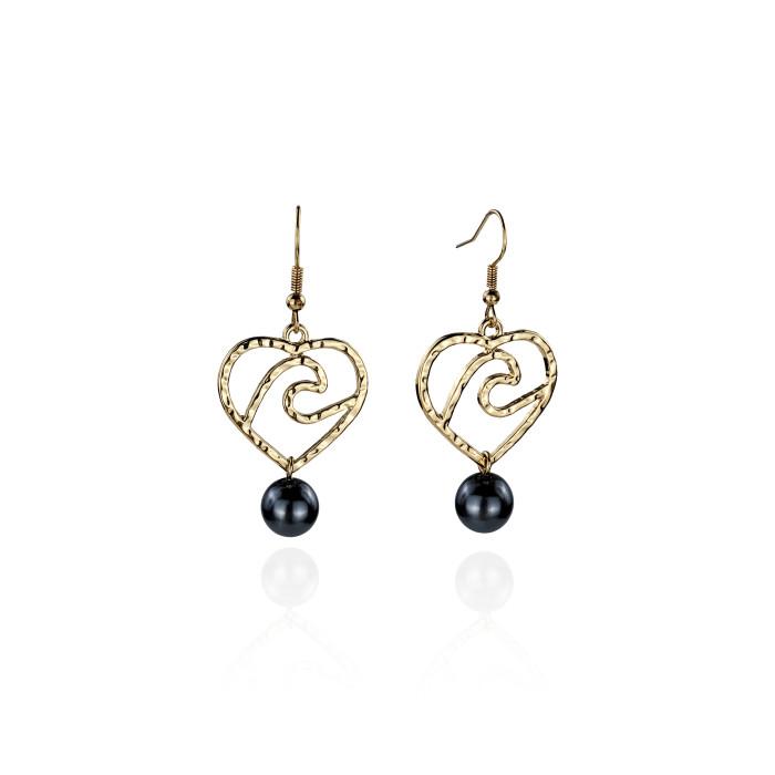 Heart wave earrings A100035