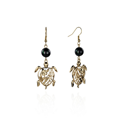 Turtle  plumeria earrings