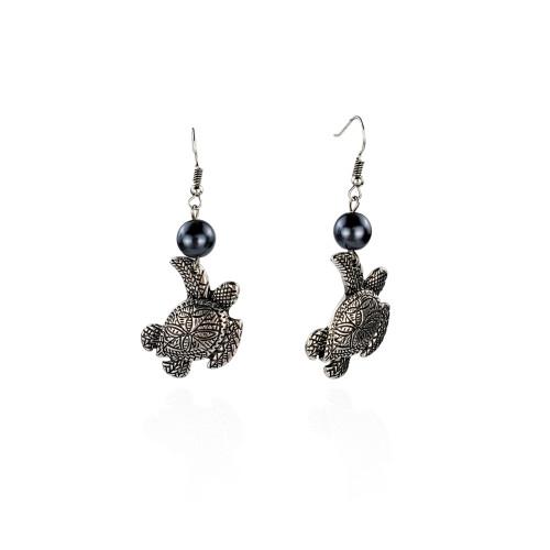 Antique silver turtle earrings