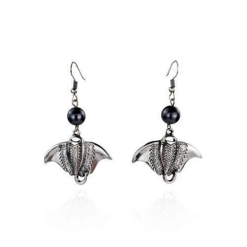 Antique silver stingray earrings