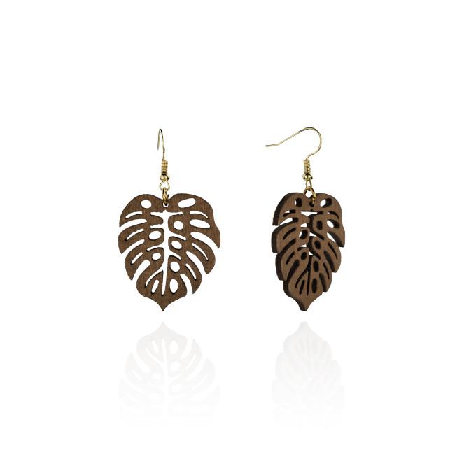 Monstera leaf wood earrings A100044