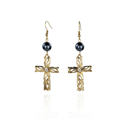 Cross earrings with diamond A100052