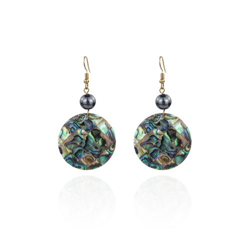 Round abalone shell earrings A100086