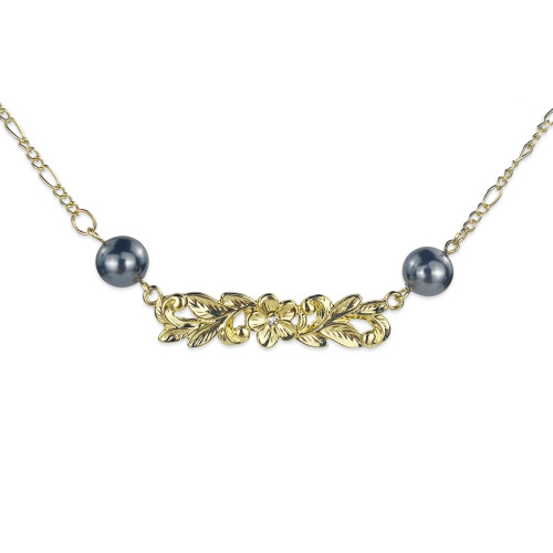 Plumeria bar necklace A200008