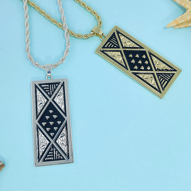 Tapa silver tribal necklace  A200023