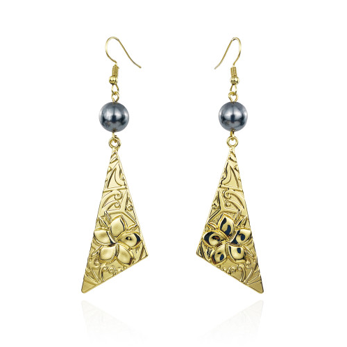 Triangle plumeria earrings