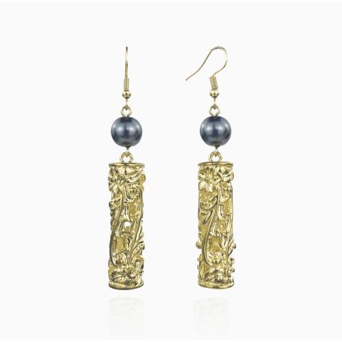 Plumeria 3D barrel earrings A100088