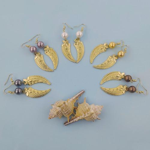 Plumeria horn earrings