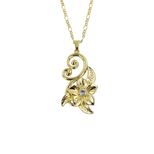 Plumeria cz gemstone leaf pendant necklace