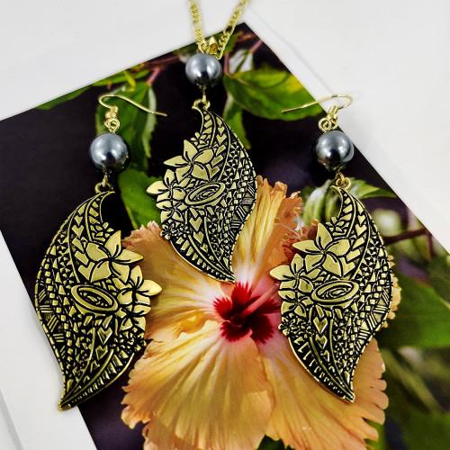Samoan plumeria necklace&earring set