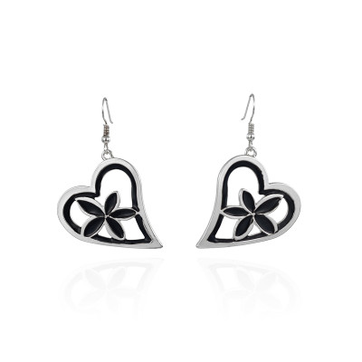 Black enamel heart shape plumeria earrings A100096