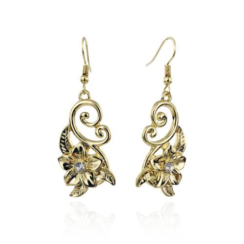 Plumeria leaf earrings diamond paved