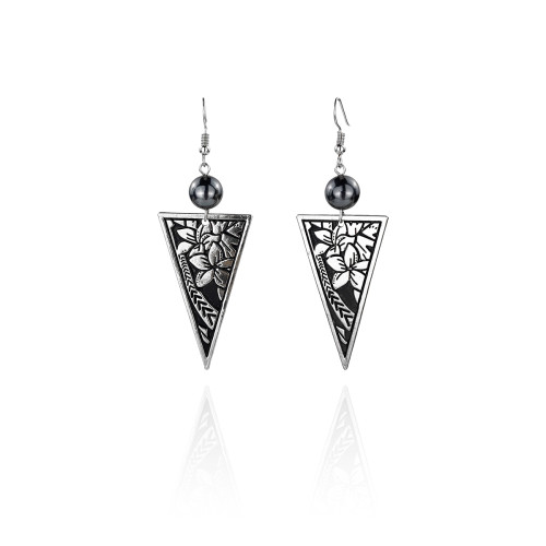 Plumeria tribal earrings A100092