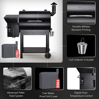 Wood Pellet Smoker , 700sq in 8-1 BBQ Grill,Auto Temperature Control Pellet Smoker(Cover,Oil Collector Included)-7002BPRO
