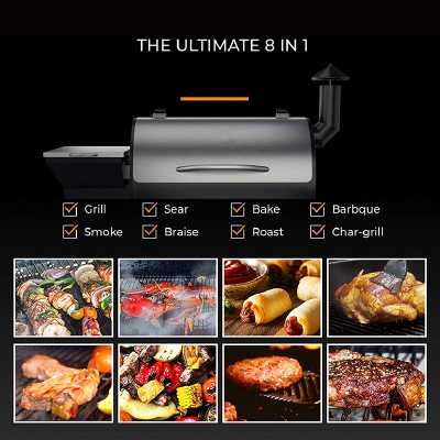 2020 Upgrade Wood Pellet Grill & Smoker, 8 in 1 BBQ Grill Auto Temperature Controls, inch Cooking Area, 700 sq, Silver