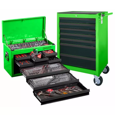 Tool Kit 262 Piece Met/AF Top Chest & Roll Cab Green #10159G