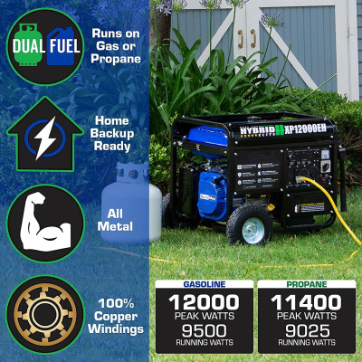 XP12000EH Generator-12000 Watt Gas or Propane Powered Home Back Up & RV Ready, 50 State Approved Dual Fuel Electric Start Portable Generator, Black and Blue