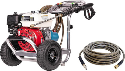 Cleaning ALH3228-S Aluminum Gas Pressure Washer Powered by Honda GX200 3400 PSI at 2.5 GPMCleaning 41030- 3/8  x 100' 4500 PSI Cold Water Replacement/Extension Hose