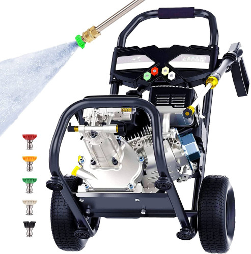 4200 PSI 2.8GPM Gas Pressure Washer,212cc 7.0 HP Power Washer with 0.7L Soap Tank,5 Quick-Connect Nozzles and 20' Hose,for Cleaning Cars,Driveway,Patio,Siding,Fence(Black)