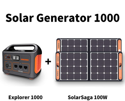 Solar Generator 1000, Explorer 1000 and 2X SolarSaga 100W with 3x110V/1000W AC Outlets, Solar Mobile Lithium Battery Pack for Outdoor RV/Van Camping, Emergency