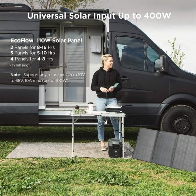 EFDELTA 1260Wh Solar Generator with 110W Solar Panel , 6 X 1800W (3300W Surge) AC Outlets, Portable Power Station for Outdoors Camping RV Hunting Emergency