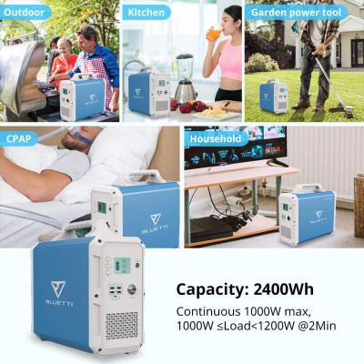 Portable Power Station BLUETTI EB150 1500Wh AC110V/1000W Camping Solar Generator Lithium Emergency Battery Backup with 2 AC outlet Pure Sinewave,DC12V,USB-C for Outdoor Road Trip Travel Fishing