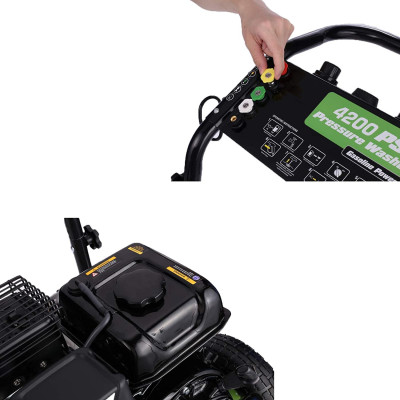 Gas Pressure Washer, 4200PSI, 3.0GPM, 209cc 7.0 HP Power Washer with Soap Tank & 5 Qiuck Connect Nozzles, Easy to Remove Dirt, Essential for Vehicles, Patios, Ground, Driveways (Green)