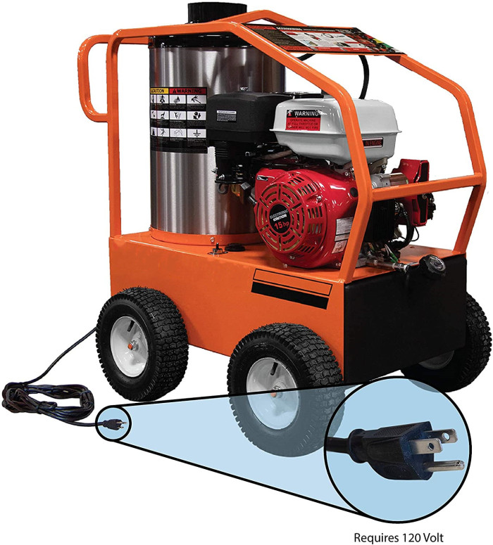 Commercial 4000 PSI 3.5 GPM Gas Driven Hot Water Pressure Washer Lifan Engine/EK Pump 110/120V Burner