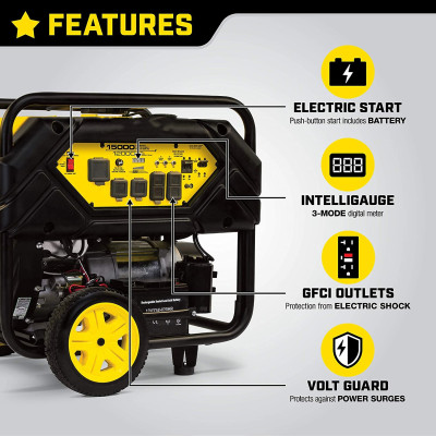 100111 15,000/12,000-Watt Portable Generator with Electric Start and Lift Hook