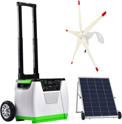 Generator Gold WE System 1800W Solar & Wind Powered Pure Sine Wave Off-Grid Generator + 100W Solar Panel + Wind Turbine, w/Infinite Expandability, Gasless for Day and Night Use
