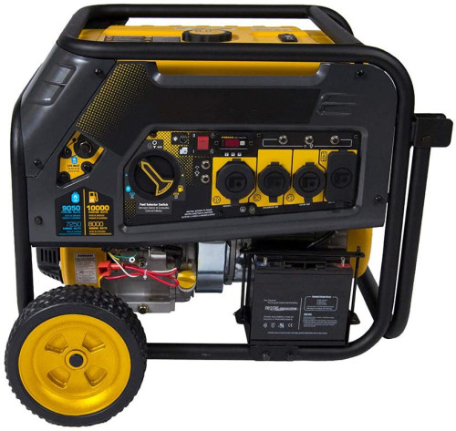 H08051 10000/8000 Watt 120/240V 30/50A Electric Start Gas or Propane Dual Fuel Portable Generator CARB Certified
