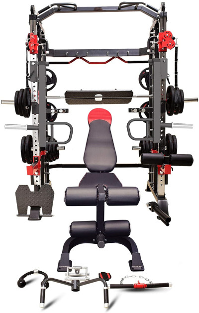 USA Commercial Hercules 1001 Jumbo Smith Machine Functional Trainer Power Cage Leg Press Dip Chin Jammer Arms Adj. Weight Bench Leg Extension Full Gym Set of Accessories All in One Gym Machine